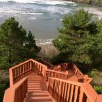 Intriguing stair case down to the ocean