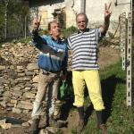 Fabrizio and Luigi at the vegetable garden