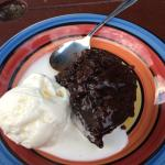 Chocolate pudding and ice cream - cooked every night in the oven and delicious!
