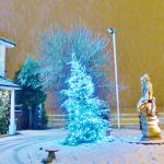 The Christmas Tree with real snow