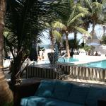 Pool area just prior to beachside area (tiered set up)