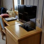 Room desk and TV.