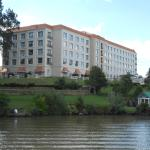 View of hotel from the hotel river barge