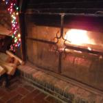 Open fire in the fire place