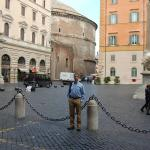 Looking out the hotel's front door (yep, that's the Pantheon!)