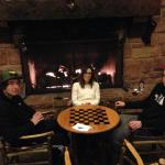 Playing cards in the lodge lobby area