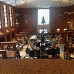 View from the mezzanine of the lobby and restaurant