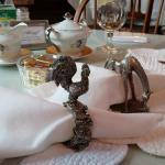 Rooster napkin ring for me the morning person, drooping horse for hubby, still sleepy