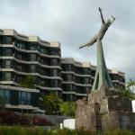 Statue of peace and liberty in front of the hotel