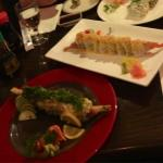Eastern Shore roll with seaweed salad and Happy Together roll with mango and coconut shrimp, yum