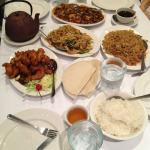 Fried rice, orange chicken, shrimp, moo shu chicken