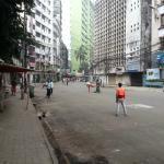 Every Friday the kids play cricket in the empty street outside the hotel