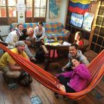 Travellers having great time in the hostel