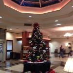 The lobby decorated for the holidays
