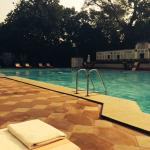 A cool day in Delhi but perfect for swimming in the heated pool!