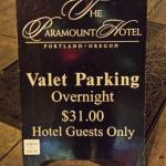 Valet sign out front