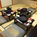 set up for the kaiseki meal in the room