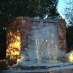 Waterfall at entrance of hotel frozen due to cold snap