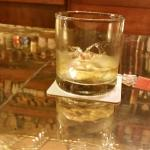 This is (before taking a sip) what the surly female bartender considered a double whiskey.  Ha.h