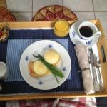 Eggs Benedict with Asparagus and Yogurt Parfait - so yummy!