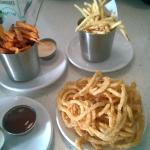Fries, sweet potato fries and onion rings
