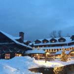 The lodge all decked out for the winter holidays