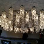 Beautiful chandelier at the Dodge House Hotel lobby