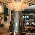 The fireplace in the lobby.  One of many seating areas.