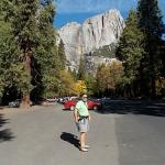 Parking lot with Yosemite falls in background