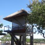 New observation tower - we had dinner in this and were fortunate in spotting the leopard at the