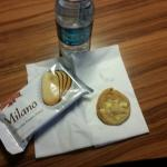 Fresh cookie and bottle water. Who doesnt love that