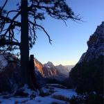 Catching sunset at Angels Landing Trail - Zion National Park