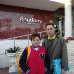 Hubby and daughter outside the hotel