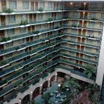 The inside of the hotel. All rooms have interior/exterior windows.