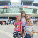 my kids posing in front of the main entrance