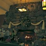 one of the 2 massive fireplaces in the lobby
