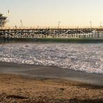 Surfers rollers and the San Clemente pier