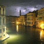 A thunderstorm approaches the Grand Canal in Venice near Ca' Bauta
