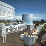 Perched on the roof of the building, the 300 person bar features panoramic city views