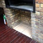 Ash all over the Bar-B-Que unit walls and in the garden around the deck area of the unit
