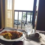 Breakfast & view of the harbor