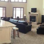 Panoramic view of living room and kitchen