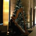 Harpist and Christmas tree in main public area