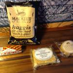 Free snacks in the mini bar:  shortbread cookies, Haggis crisps