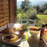 A great dinner with a beautiful Tuscan view!