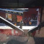 """View of content pidgeon resting on one of the letters from """"Hotel"""" sign outside our window"""