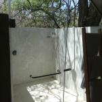 Outdoor shower in our tented suite