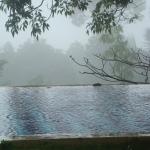 The pool on a hot rainy dayamong the clouds