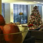 The TV lounge decorated for the festive season