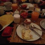 Breakfast was wonderful and varied every day with little cups of fresh fruit and beautiful yoghu